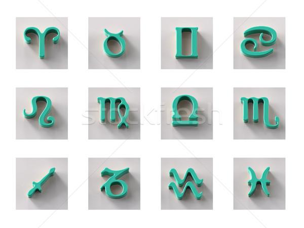 набор изолированный 3D зодиак иконки веб Сток-фото © motttive