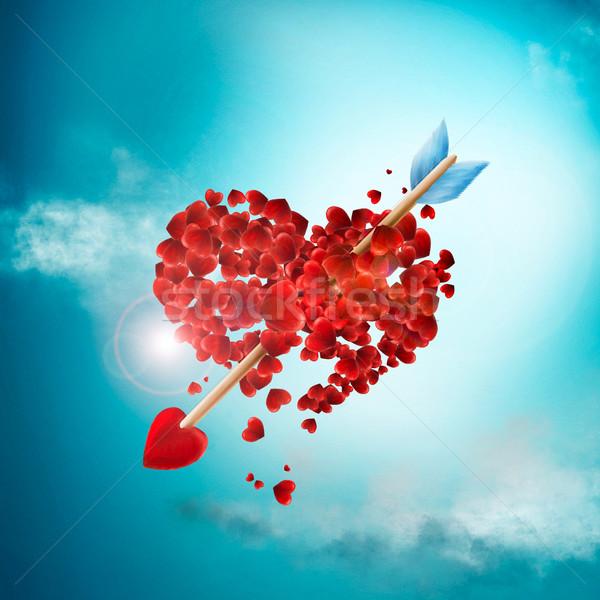 Día de san valentín ilustración flecha corazones resumen fondo Foto stock © motttive