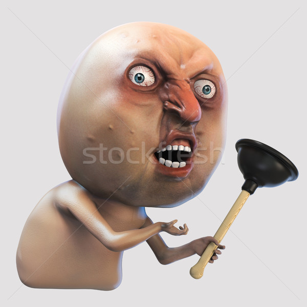 Internet meme Why You No with plunger. Rage face 3d illustration Stock photo © motttive