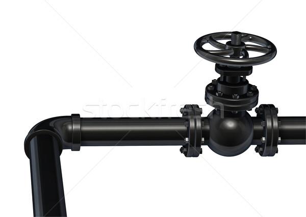 Foto stock: Industrial · tubería · válvula · aislado · blanco · negro