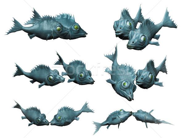 Fantasztikus hal csók 3D Stock fotó © motttive