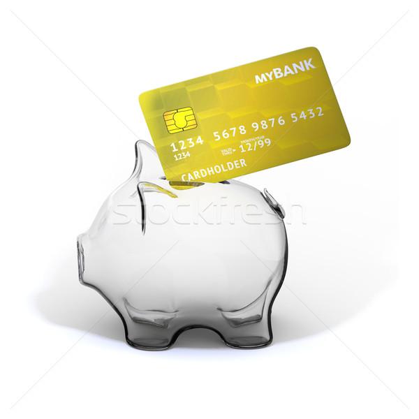 Alcancía tarjeta de crédito 3d 3D negocios Foto stock © motttive