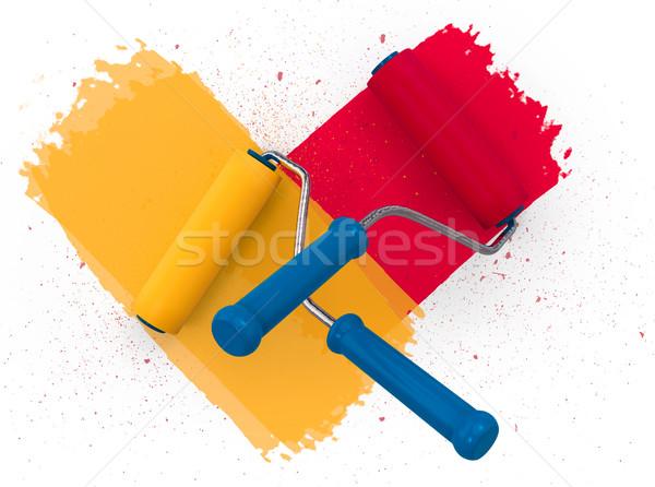 Család vitatkozás szín fal festék 3D Stock fotó © motttive