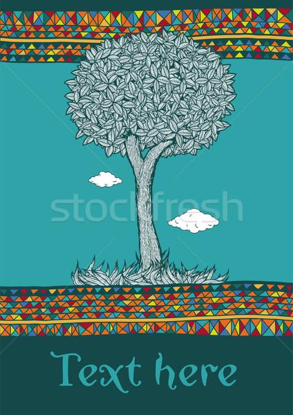 Decorativo árbol frontera vector Foto stock © motttive