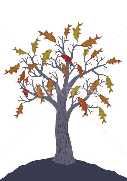 Foto stock: Peces · árbol · blanco · vector · dibujo · colgante