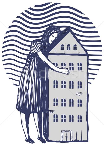 Mujer casa armas manos banco Foto stock © motttive