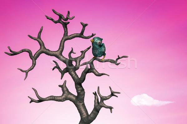 Blue bird perching in the dead tree. 3d illustration Stock photo © motttive
