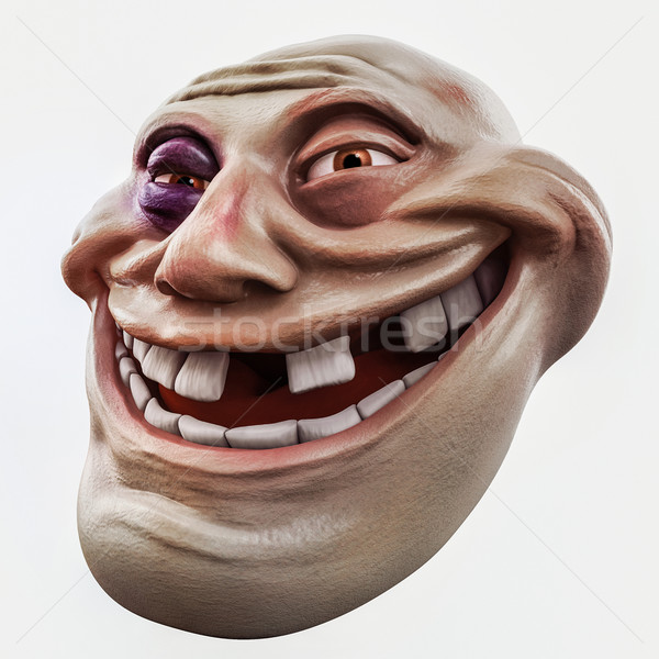 Trollface beaten. Internet troll 3d illustration Stock photo © motttive