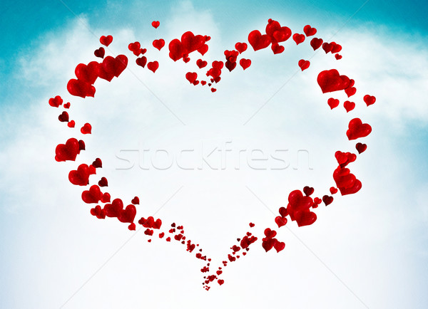 Valentine card background with hearts in the sky Stock photo © motttive