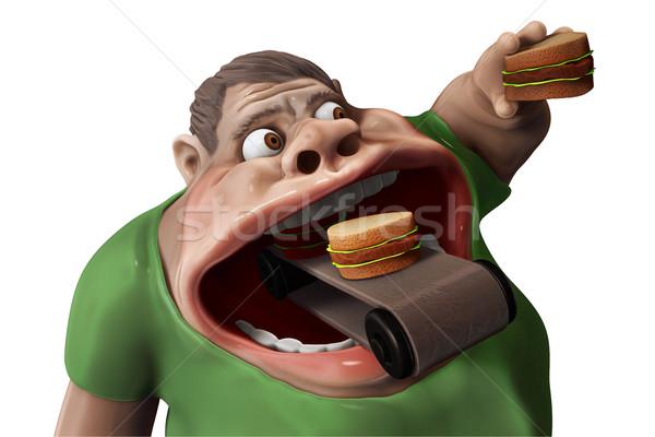 Fat hungry man eating hamburgers 3d illustration Stock photo © motttive
