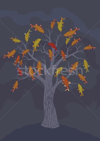 Peces árbol vector dibujo colgante Foto stock © motttive