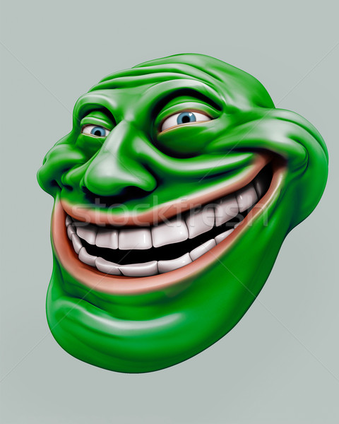 Green trollface. Internet troll 3d illustration Stock photo © motttive