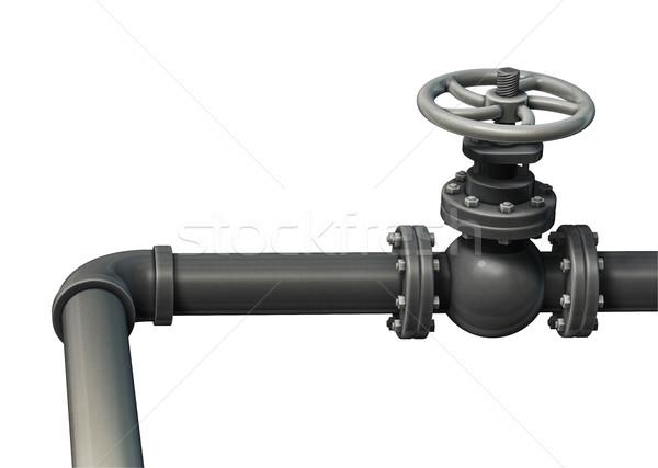 Foto stock: Industrial · tubería · válvula · aislado · blanco · 3d