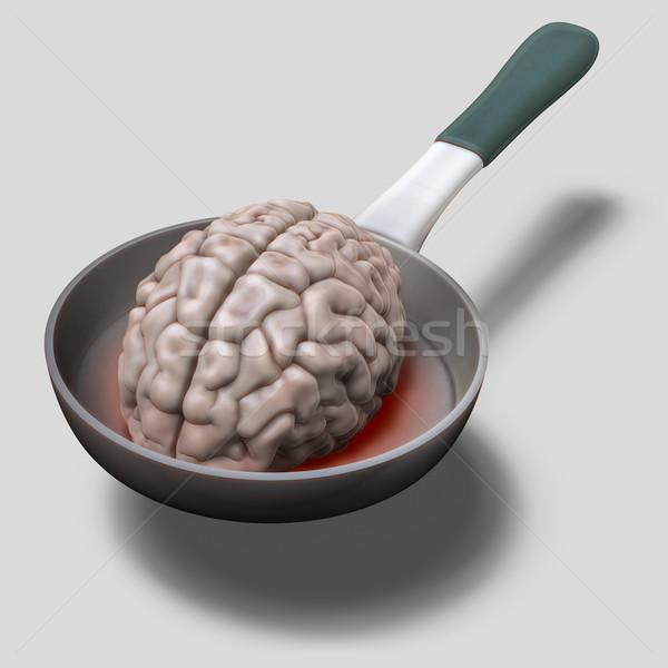 Stock photo: Human brain on hot pan illustration