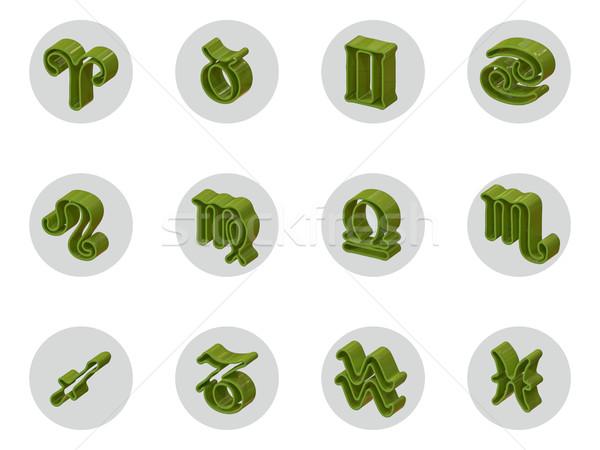 Сток-фото: набор · изолированный · 3D · зодиак · иконки · веб