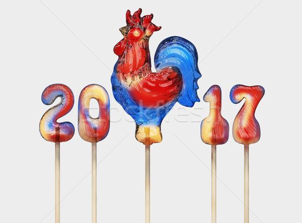 Haan lolly 3d render sjabloon nieuwjaar ontwerp Stockfoto © motttive