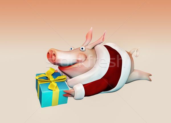 Foto stock: Año · nuevo · cerdo · regalo · manos · ilustración · amor