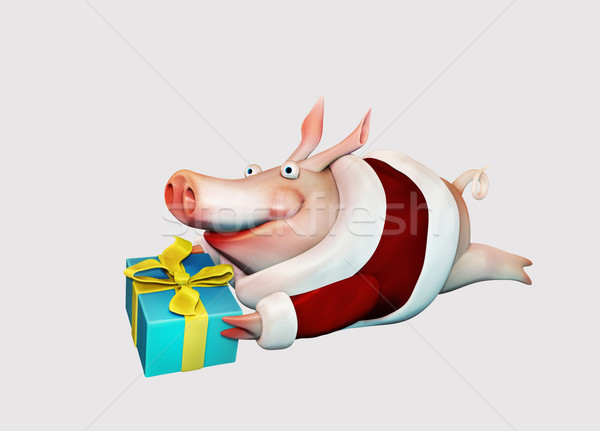 Foto stock: Año · nuevo · cerdo · regalo · aislado · manos · ilustración