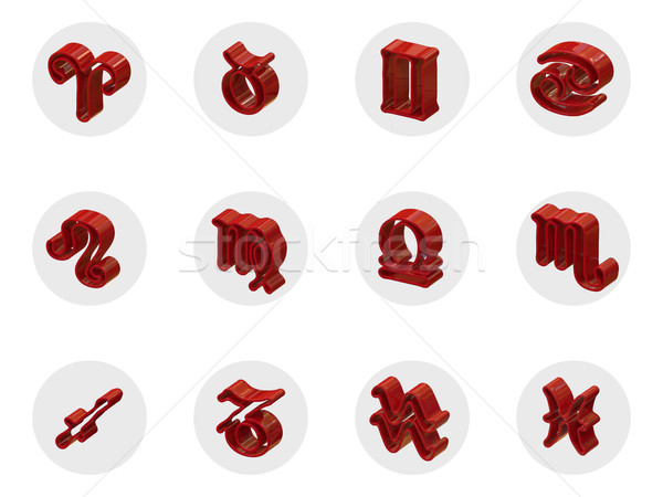 Set of isolated 3D zodiac icons for web and print Stock photo © motttive