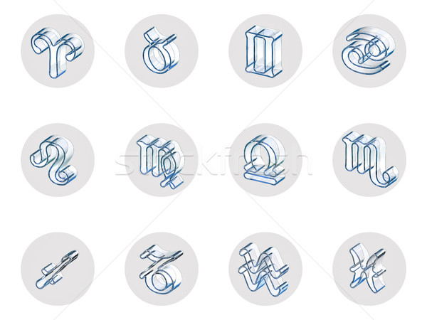 Establecer aislado 3D zodíaco iconos web Foto stock © motttive