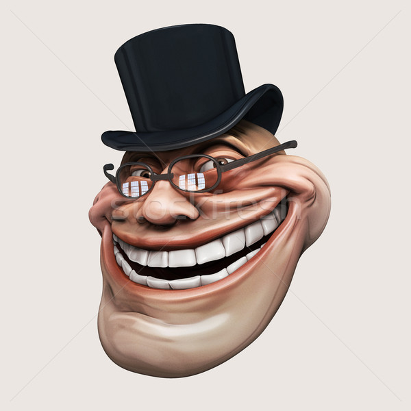 Trollface spectacled, in hat. Internet troll 3d illustration Stock photo © motttive