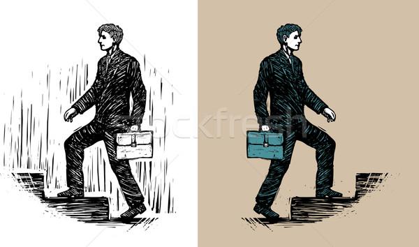 Illustratie zakenman aktetas lopen naar boven business Stockfoto © motttive