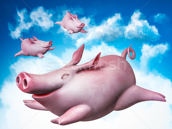 Funny vuelo cielo sonrisa cerdo libertad Foto stock © motttive