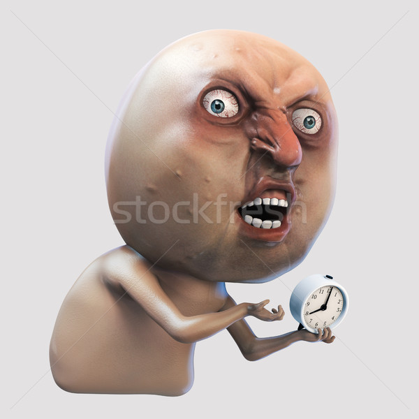 Internet meme Why You No wake me up. Rage face 3d illustration Stock photo © motttive