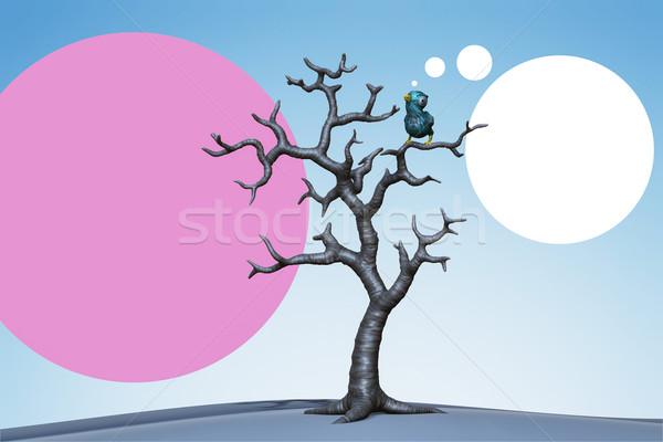 Pequeño azul aves árbol 3d árbol muerto Foto stock © motttive