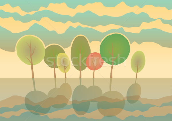 Verano árboles parque vector Cartoon paisaje Foto stock © motttive