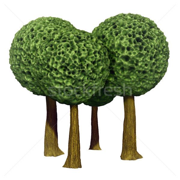 Pelota árboles 3D Foto stock © motttive