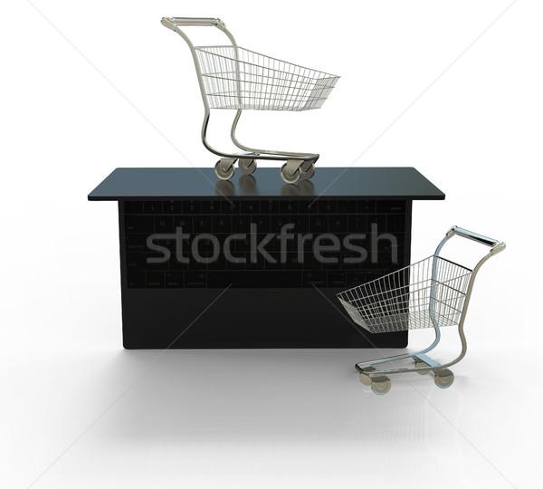 Foto stock: Compras · en · línea · electrónico · comercio · 3d · aislado · blanco