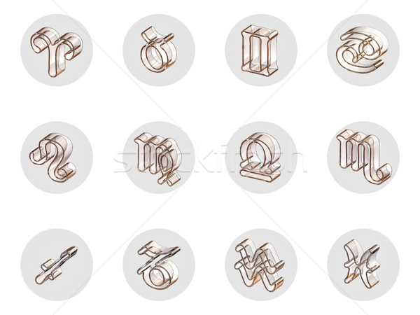 Stock photo: Set of isolated 3D zodiac icons for web and print