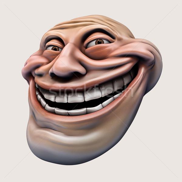 интернет 3d иллюстрации смеясь голову изолированный лице Сток-фото © motttive