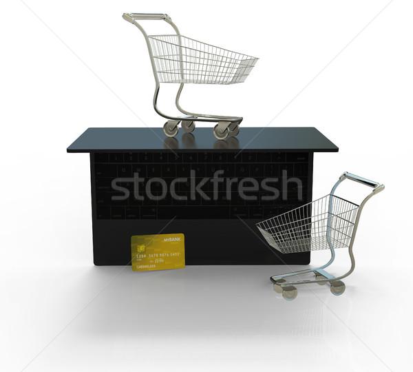 Online vásárlás elektronikus gazdaság 3d illusztráció izolált fehér Stock fotó © motttive