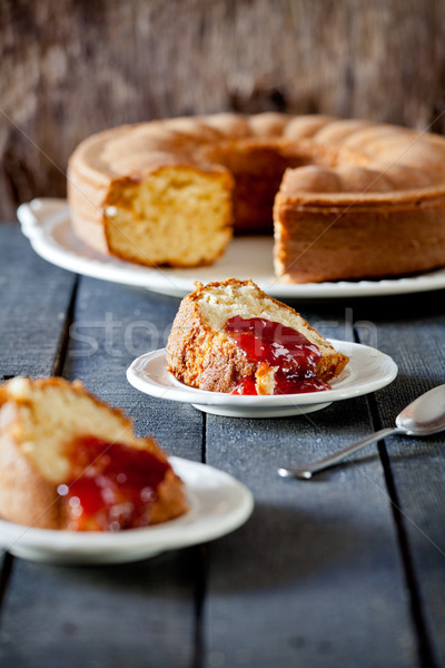 Vanilla Cake With Fresh Strawberry Jam Stock photo © mpessaris