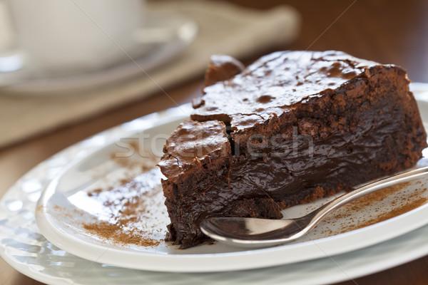 Foto stock: Bolo · de · chocolate · café · fatia