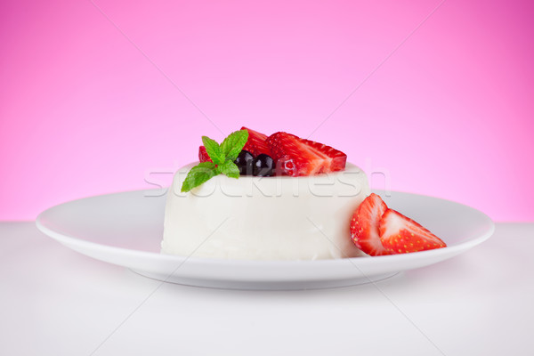 Panna Cotta With Red Fruits Stock photo © mpessaris