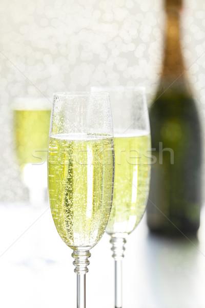 Szemüveg pezsgő közelkép fénykép kettő Stock fotó © mpessaris