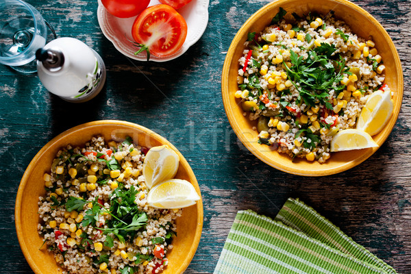 Plates Of Refreshing Summer Bulgur Salad Stock photo © mpessaris