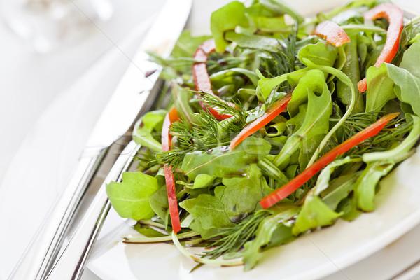Stock fotó: Friss · zöld · saláta · piros · paprikák · közelkép