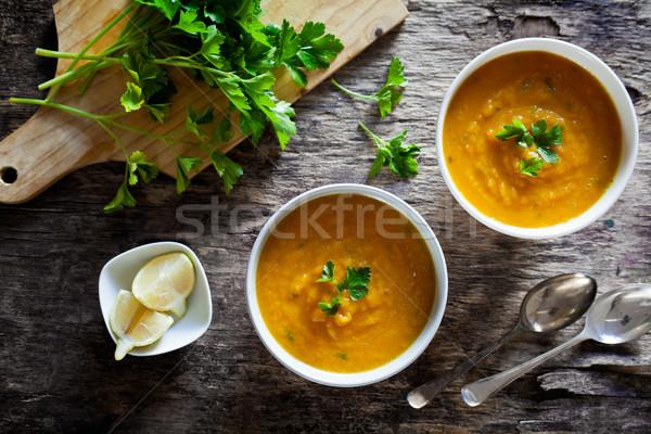 Tálak házi készítésű sárgarépa leves pár étel Stock fotó © mpessaris