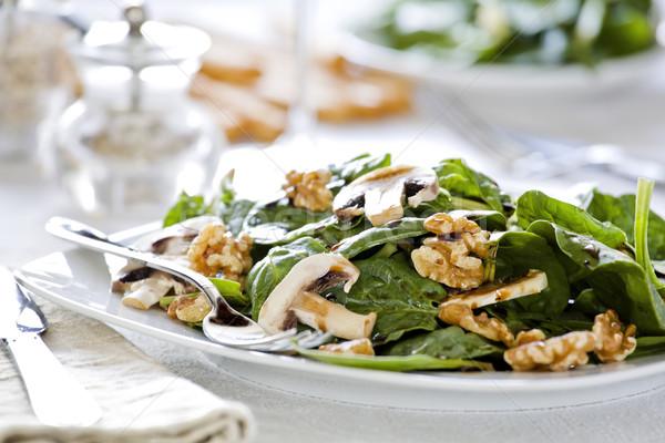 Stok fotoğraf: ıspanak · salata · yemek · fotoğraf · plaka