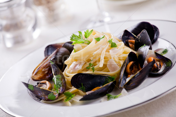 Pasta And Mussels Stock photo © mpessaris