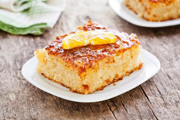 Tatlı ev yapımı turuncu kek dilim Stok fotoğraf © mpessaris