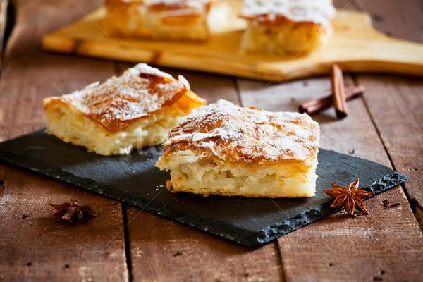 Grieks vla taart stuk zoete eigengemaakt Stockfoto © mpessaris