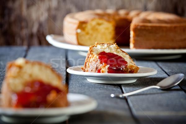 Vanille cake jam foto aardbei voedsel Stockfoto © mpessaris