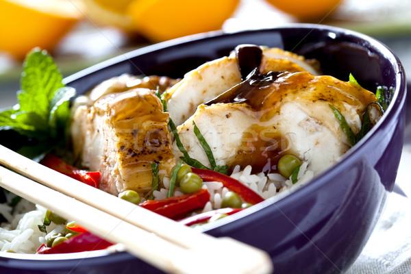 ízletes kínai étel tál Stock fotó © mpessaris