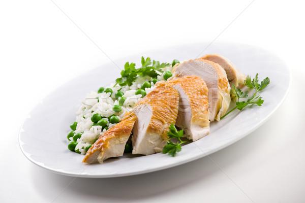 Csirkemell étel felszolgált rizs zöldborsó étel Stock fotó © mpessaris