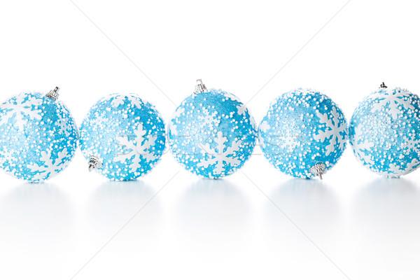f nf weihnachten kugeln lichtbild blau stock. Black Bedroom Furniture Sets. Home Design Ideas